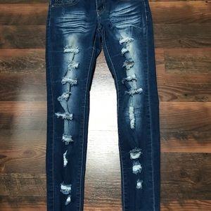 VIP Dark Wash, Distressed Skinny Jeans